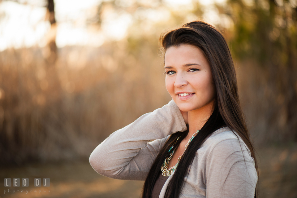 Head portrait of high school girl with brunette hair. Eastern Shore, Maryland, Queen Anne's County High School senior portrait session by photographer Leo Dj Photography. http://leodjphoto.com