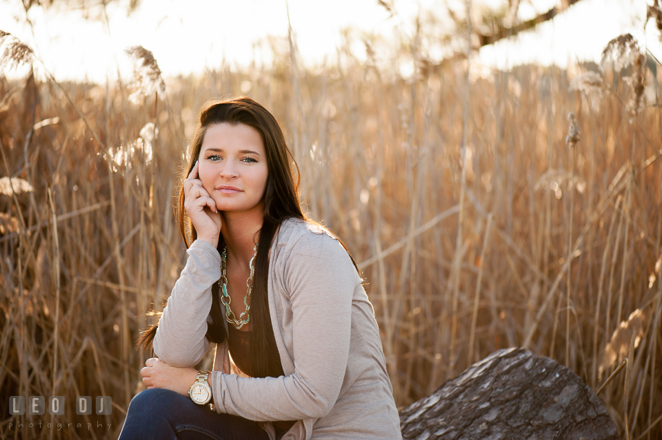 Beautiful brunette girl posing and sitting on a tree log. Eastern Shore, Maryland, Queen Anne's County High School senior portrait session by photographer Leo Dj Photography. http://leodjphoto.com