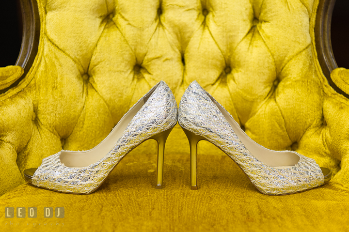 Bride's silver wedding shoes. St Andrews United Methodist wedding photos at Annapolis, Eastern Shore, Maryland by photographers of Leo Dj Photography.