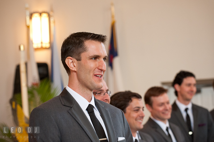 Groom, Best Man, and Groomsmen smiled seeing the Bride the first time. St Andrews United Methodist wedding photos at Annapolis, Eastern Shore, Maryland by photographers of Leo Dj Photography.