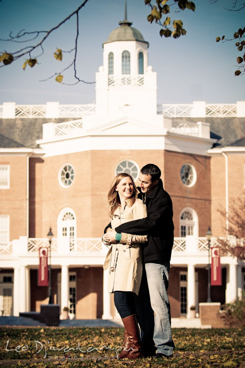 Engaged couple in front of a historic campus building. Chestertown Maryland and Washington College Pre-Wedding Engagement Session Photographer, Leo Dj Photography