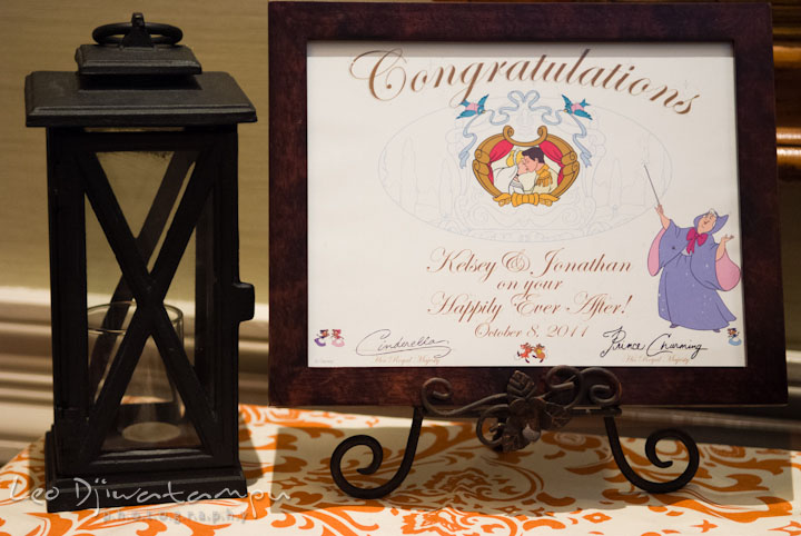 Certificate of congratulations from Disney, signed by Cinderella and Prince Charming. The Tidewater Inn Wedding, Easton Maryland, getting ready photo coverage of Kelsey and Jonnie by wedding photographers of Leo Dj Photography.