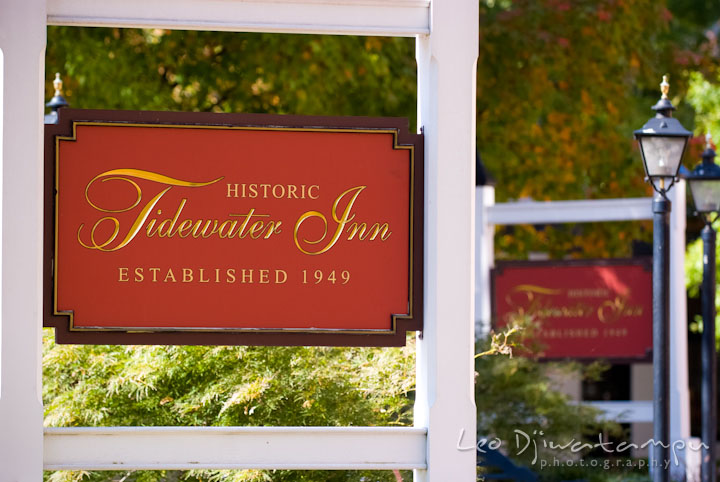 Historic Tidewater Inn signs outside. The Tidewater Inn Wedding, Easton Maryland, getting ready photo coverage of Kelsey and Jonnie by wedding photographers of Leo Dj Photography.