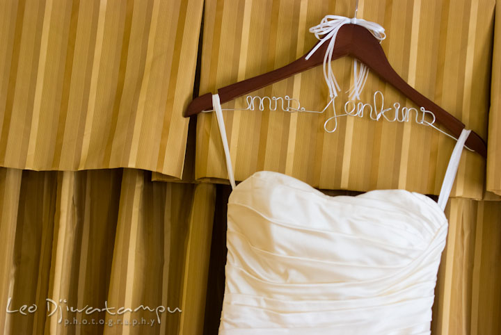 Custom made wedding dress hanger with last name. The Tidewater Inn Wedding, Easton Maryland, getting ready photo coverage of Kelsey and Jonnie by wedding photographers of Leo Dj Photography.
