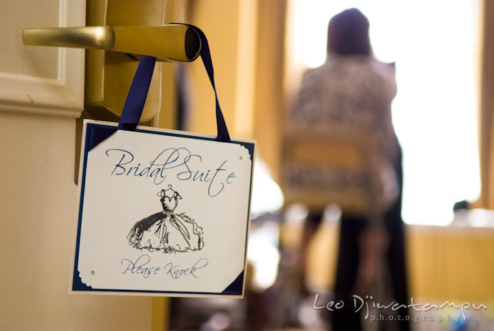 Bridal suite sign on the door. The Tidewater Inn Wedding, Easton Maryland, getting ready photo coverage of Kelsey and Jonnie by wedding photographers of Leo Dj Photography.