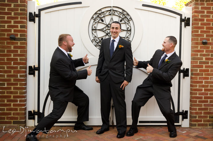 Groom posing with best men. The Tidewater Inn Wedding, Easton Maryland, getting ready photo coverage of Kelsey and Jonnie by wedding photographers of Leo Dj Photography.