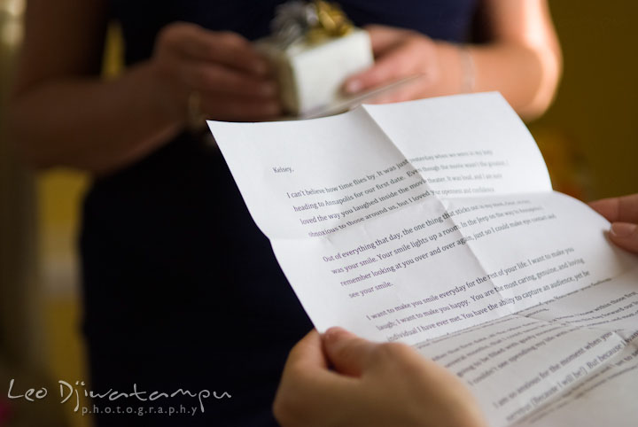 Bride reading letter from groom. The Tidewater Inn Wedding, Easton Maryland, getting ready photo coverage of Kelsey and Jonnie by wedding photographers of Leo Dj Photography.