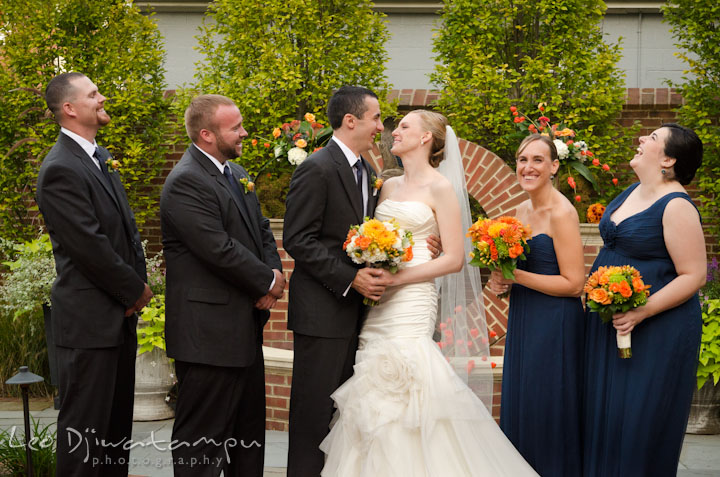 Bride groom and bridal party laughing. The Tidewater Inn Wedding, Easton Maryland, ceremony photo coverage of Kelsey and Jonnie by wedding photographers of Leo Dj Photography.
