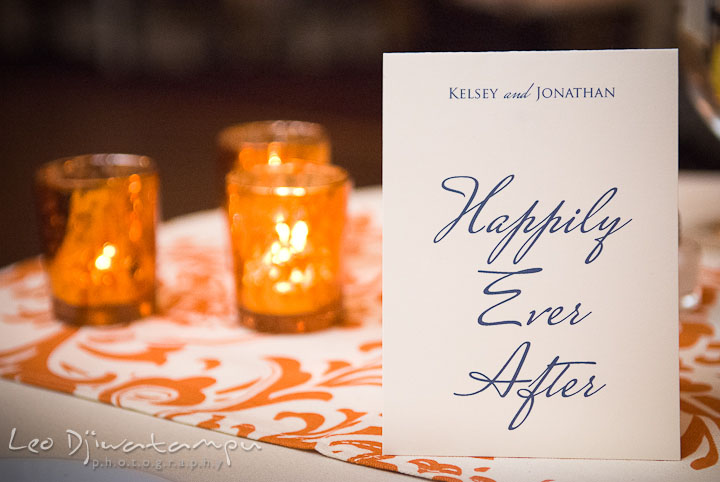 Happily ever after card on table. The Tidewater Inn Wedding, Easton Maryland, reception photo coverage of Kelsey and Jonnie by wedding photographers of Leo Dj Photography.