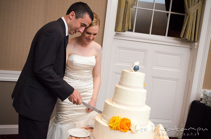 Bride and groom cutting cake. The Tidewater Inn Wedding, Easton Maryland, reception photo coverage of Kelsey and Jonnie by wedding photographers of Leo Dj Photography.
