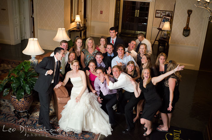 Washington College Alumni group shot. The Tidewater Inn Wedding, Easton Maryland, reception photo coverage of Kelsey and Jonnie by wedding photographers of Leo Dj Photography.