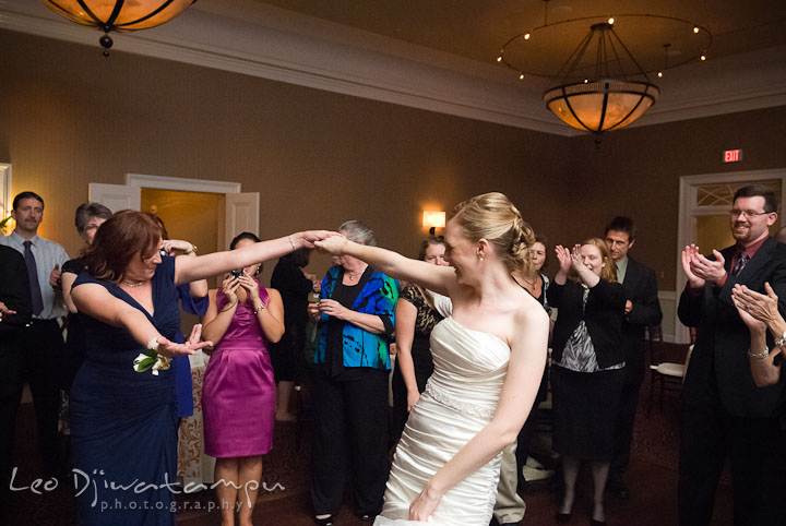 Bride dancing together with her mom. The Tidewater Inn Wedding, Easton Maryland, reception photo coverage of Kelsey and Jonnie by wedding photographers of Leo Dj Photography.