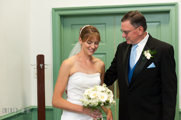 Bride spending time with Father before she walks down the isle. St. Mark United Methodist Church wedding photos at Easton, Eastern Shore, Maryland by photographers of Leo Dj Photography. http://leodjphoto.com