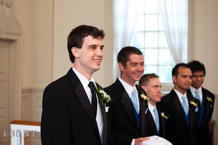 Groom, Best Men, and Groomsmen smiling. St. Mark United Methodist Church wedding photos at Easton, Eastern Shore, Maryland by photographers of Leo Dj Photography. http://leodjphoto.com