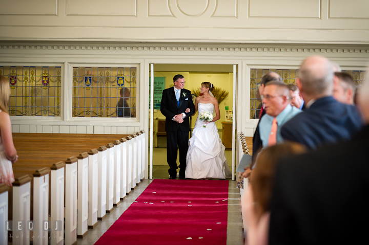 Father of the Bride and Bride getting ready for procession. St. Mark United Methodist Church wedding photos at Easton, Eastern Shore, Maryland by photographers of Leo Dj Photography. http://leodjphoto.com