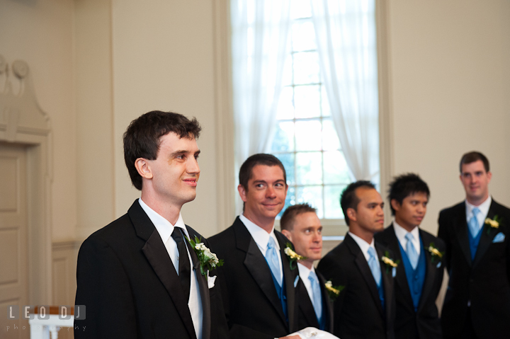 Groom smiling and happy to see Bride in her dress for the first time. St. Mark United Methodist Church wedding photos at Easton, Eastern Shore, Maryland by photographers of Leo Dj Photography. http://leodjphoto.com