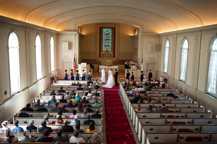 View of the wedding ceremony from the balcony above. St. Mark United Methodist Church wedding photos at Easton, Eastern Shore, Maryland by photographers of Leo Dj Photography. http://leodjphoto.com