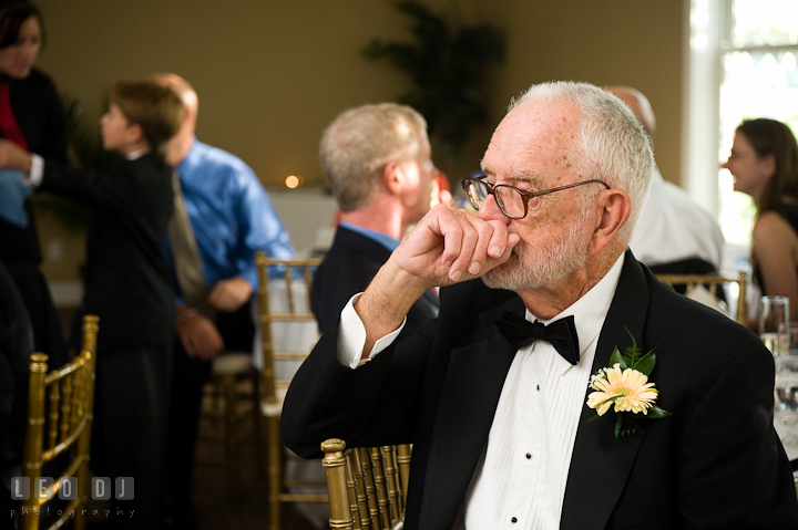 Father of the Groom emotional seeing Mother and son dance. Riverhouse Pavilion wedding photos at Easton, Eastern Shore, Maryland by photographers of Leo Dj Photography. http://leodjphoto.com