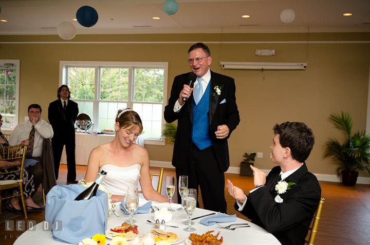 Father of Bride delivering speech. Riverhouse Pavilion wedding photos at Easton, Eastern Shore, Maryland by photographers of Leo Dj Photography. http://leodjphoto.com