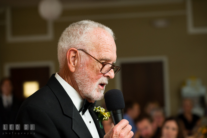 Father of Groom delivering speech. Riverhouse Pavilion wedding photos at Easton, Eastern Shore, Maryland by photographers of Leo Dj Photography. http://leodjphoto.com