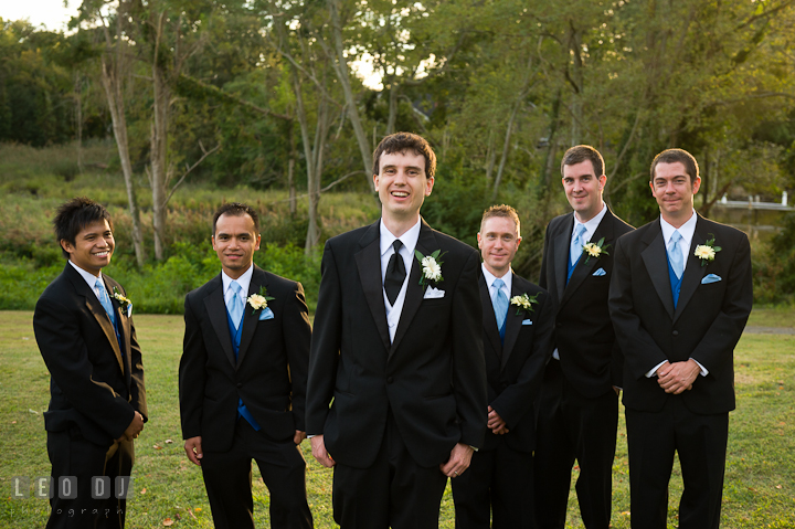 The Groom party, the Groom, Best Men and Groomsmen posing. Riverhouse Pavilion wedding photos at Easton, Eastern Shore, Maryland by photographers of Leo Dj Photography. http://leodjphoto.com
