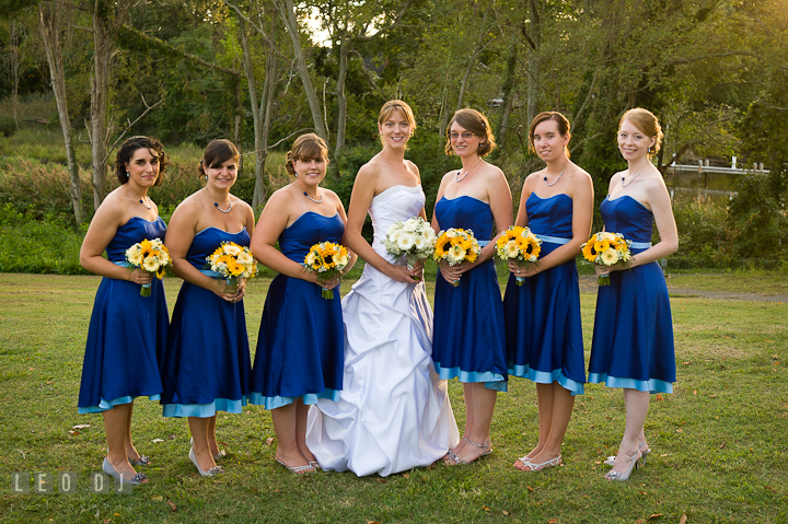 The Bridal party, the Bride, Maid of Honor, and Bridesmaids posing. Riverhouse Pavilion wedding photos at Easton, Eastern Shore, Maryland by photographers of Leo Dj Photography. http://leodjphoto.com