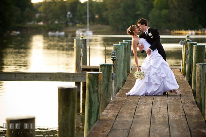 Bride and Groom almost kissed on the pier. Riverhouse Pavilion wedding photos at Easton, Eastern Shore, Maryland by photographers of Leo Dj Photography. http://leodjphoto.com