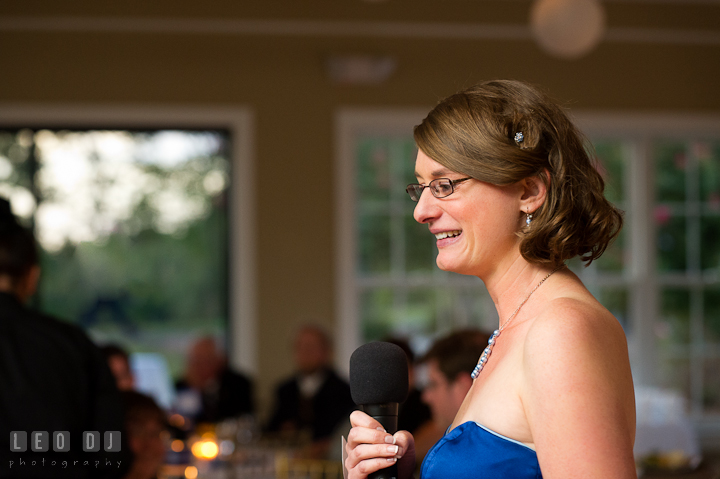 Maid of Honor delivering speech. Riverhouse Pavilion wedding photos at Easton, Eastern Shore, Maryland by photographers of Leo Dj Photography. http://leodjphoto.com