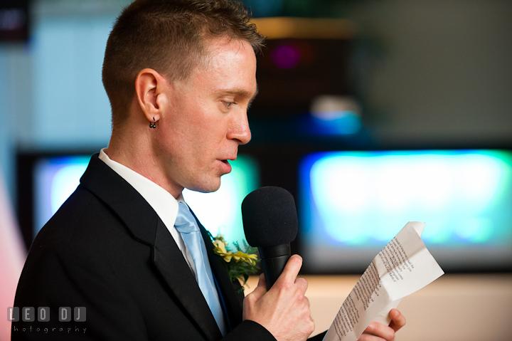 Best Man reading his speech. Riverhouse Pavilion wedding photos at Easton, Eastern Shore, Maryland by photographers of Leo Dj Photography. http://leodjphoto.com