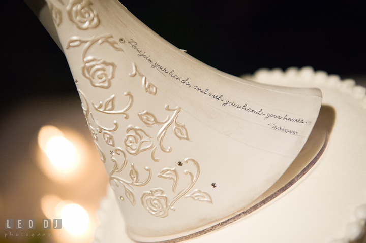 Shakespeare quote on the cake topper. Riverhouse Pavilion wedding photos at Easton, Eastern Shore, Maryland by photographers of Leo Dj Photography. http://leodjphoto.com