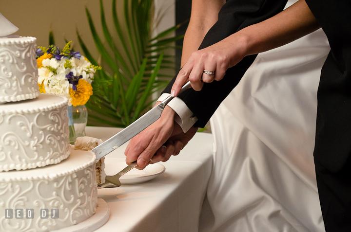 Bride and Groom cutting the wedding cake. Riverhouse Pavilion wedding photos at Easton, Eastern Shore, Maryland by photographers of Leo Dj Photography. http://leodjphoto.com