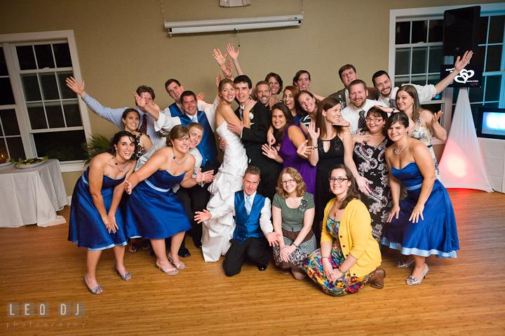 Group shot with Washington College Alumni. Riverhouse Pavilion wedding photos at Easton, Eastern Shore, Maryland by photographers of Leo Dj Photography. http://leodjphoto.com