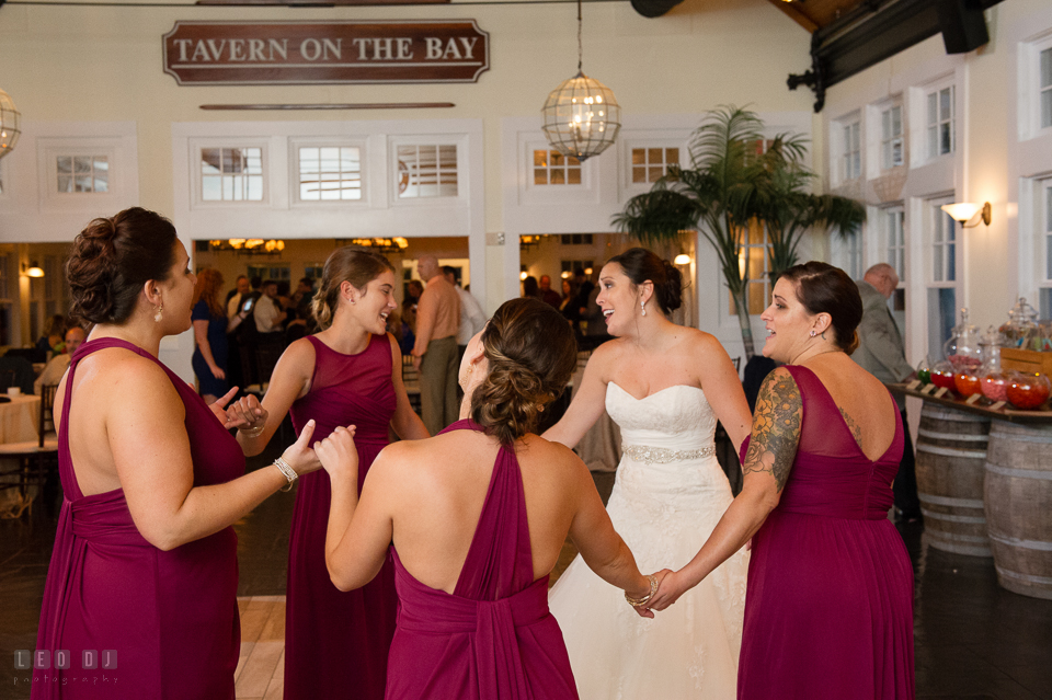 Chesapeake Bay Beach Club Bride dancing and singing with maid of honor and bridesmaid photo by Leo Dj Photography.