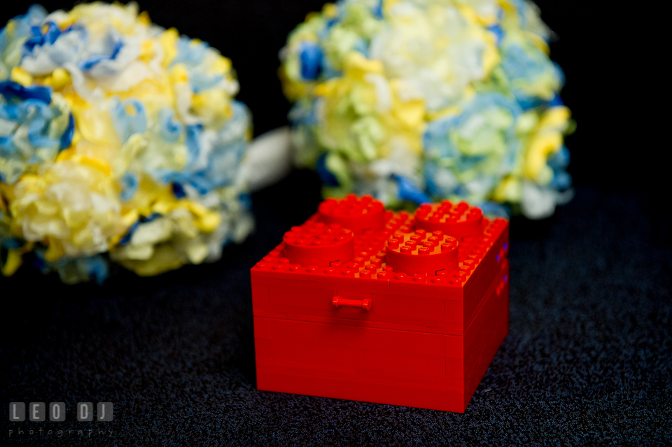 Ring box made from LEGO. Fisherman's Inn, Safe Harbor Church, Kent Island, Eastern Shore Maryland, wedding reception and ceremony photo, by wedding photographers of Leo Dj Photography. http://leodjphoto.com