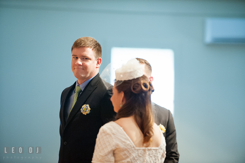 Groom admiring Bride during the ceremony. Fisherman's Inn, Safe Harbor Church, Kent Island, Eastern Shore Maryland, wedding reception and ceremony photo, by wedding photographers of Leo Dj Photography. http://leodjphoto.com