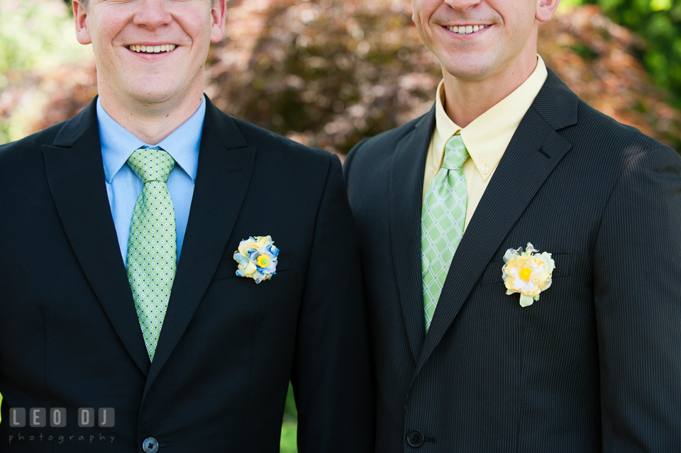 Detail shots of the boutonnieres of Groom and Best Man. Fisherman's Inn, Safe Harbor Church, Kent Island, Eastern Shore Maryland, wedding reception and ceremony photo, by wedding photographers of Leo Dj Photography. http://leodjphoto.com