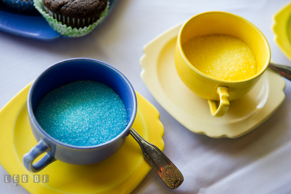 Blue and yellow colored sugar, cups, and saucers. Fisherman's Inn, Safe Harbor Church, Kent Island, Eastern Shore Maryland, wedding reception and ceremony photo, by wedding photographers of Leo Dj Photography. http://leodjphoto.com