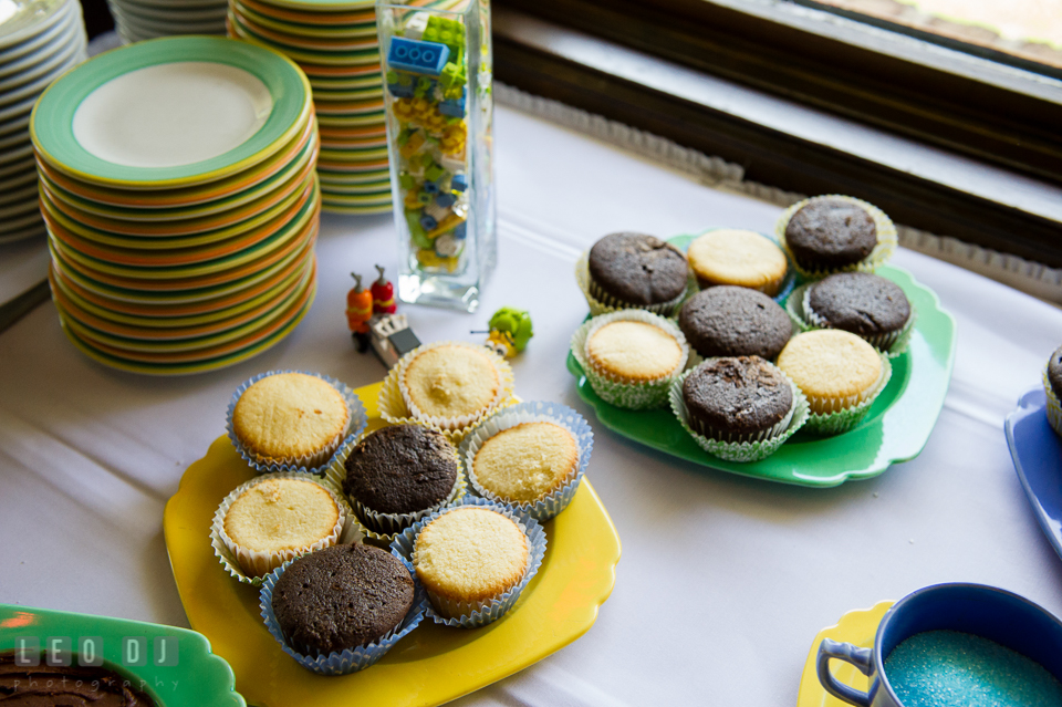 Cupcakes table with LEGO decorations. Fisherman's Inn, Safe Harbor Church, Kent Island, Eastern Shore Maryland, wedding reception and ceremony photo, by wedding photographers of Leo Dj Photography. http://leodjphoto.com