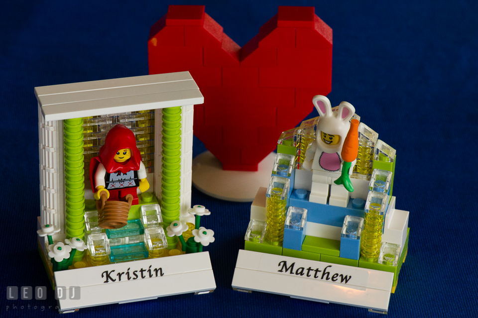 LEGO mini figures display with Bride and Groom's name. Fisherman's Inn, Safe Harbor Church, Kent Island, Eastern Shore Maryland, wedding reception and ceremony photo, by wedding photographers of Leo Dj Photography. http://leodjphoto.com