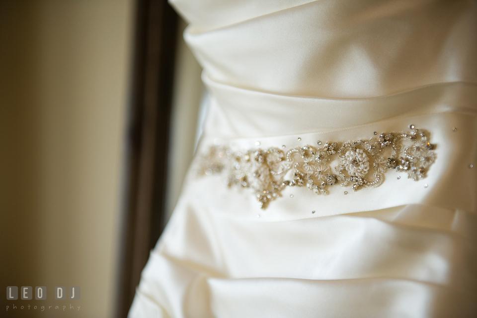 Beautiful details of the wedding gown from Carine's Bridal Atelier. Kent Island Maryland Chesapeake Bay Beach Club wedding photo, by wedding photographers of Leo Dj Photography. http://leodjphoto.com