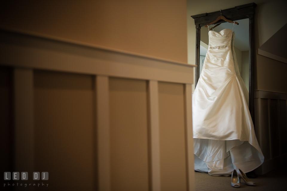 Bride's wedding dress and shoes. Kent Island Maryland Chesapeake Bay Beach Club wedding photo, by wedding photographers of Leo Dj Photography. http://leodjphoto.com