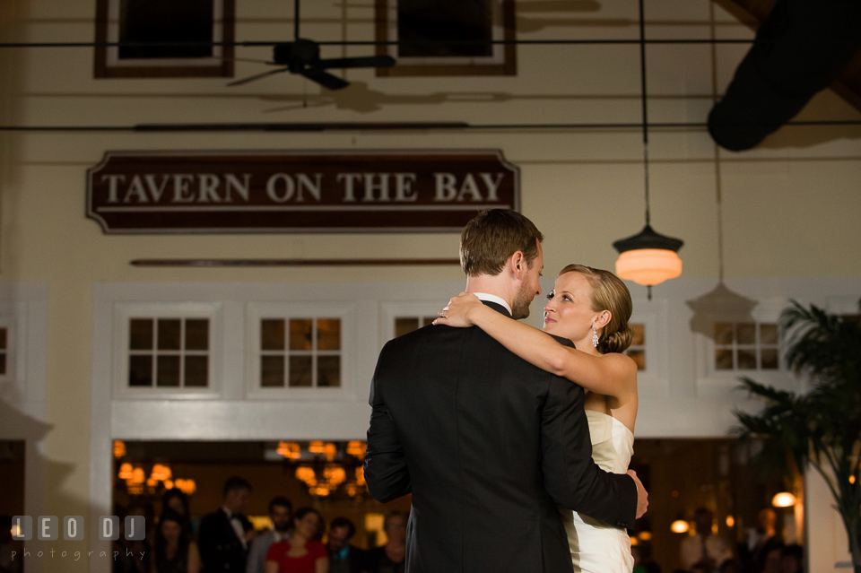 Bride and Groom looking at each other with lots of love during their first dance. Kent Island Maryland Chesapeake Bay Beach Club wedding photo, by wedding photographers of Leo Dj Photography. http://leodjphoto.com