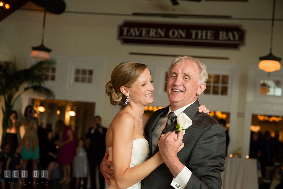 Father of the Bride smiling with his daugther during the Father-daughter dance. Kent Island Maryland Chesapeake Bay Beach Club wedding photo, by wedding photographers of Leo Dj Photography. http://leodjphoto.com