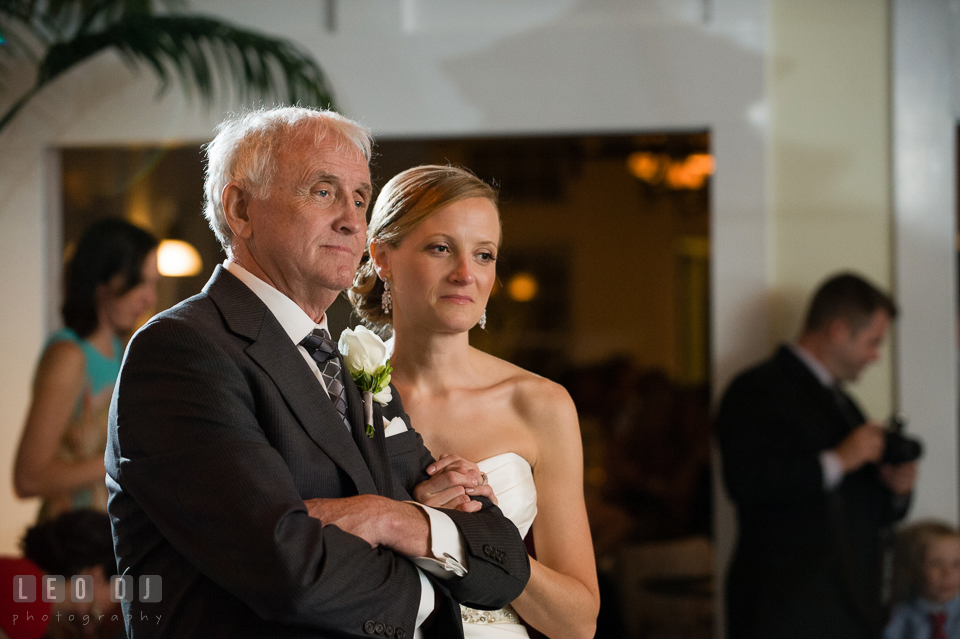 Father of the Bride and daughter looking at the Groom and his Mother dancing. Kent Island Maryland Chesapeake Bay Beach Club wedding photo, by wedding photographers of Leo Dj Photography. http://leodjphoto.com