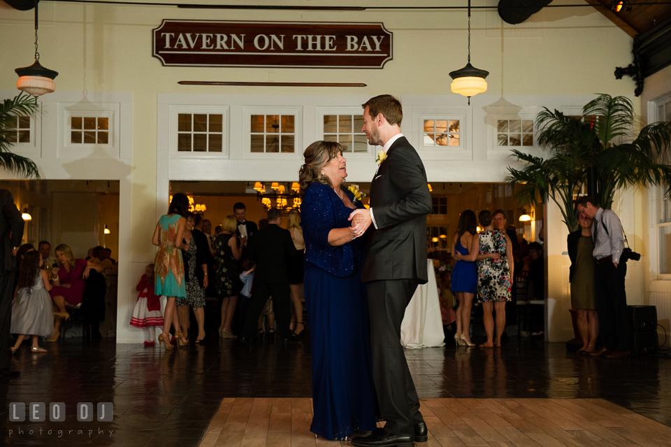 Mother of the Groom and son dance. Kent Island Maryland Chesapeake Bay Beach Club wedding photo, by wedding photographers of Leo Dj Photography. http://leodjphoto.com