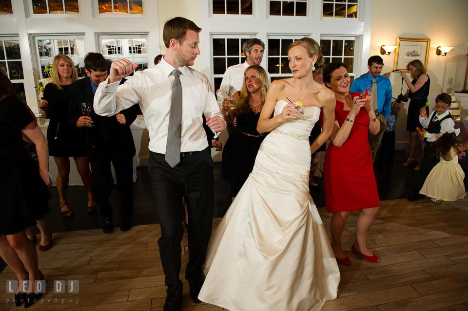Bride and Groom dancing during the open dance floor. Kent Island Maryland Chesapeake Bay Beach Club wedding photo, by wedding photographers of Leo Dj Photography. http://leodjphoto.com
