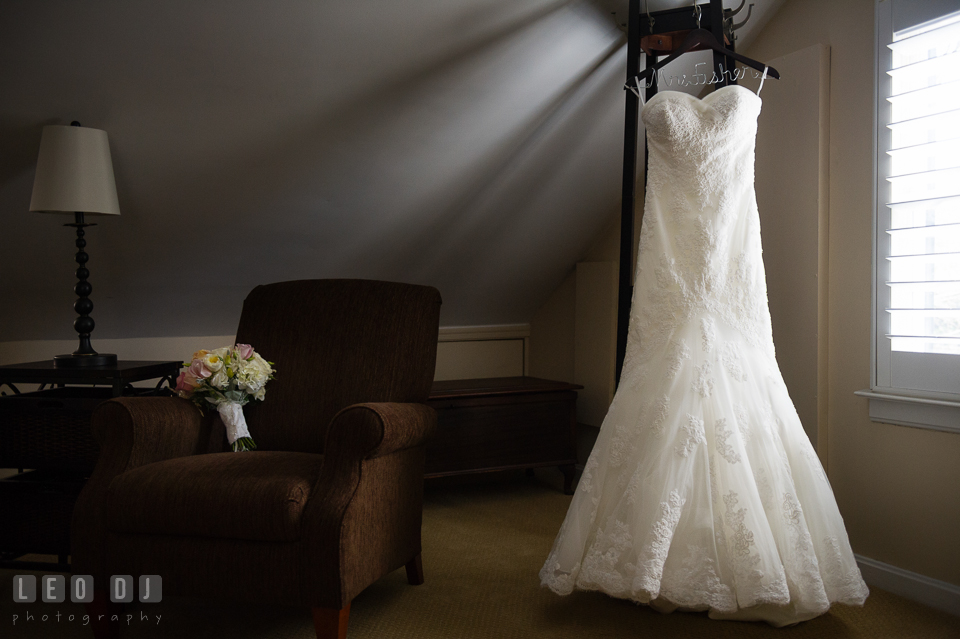 Bride's wedding dress from Bridals by Elena. Historic Inns of Annapolis Maryland, Governor Calvert House wedding, by wedding photographers of Leo Dj Photography. http://leodjphoto.com