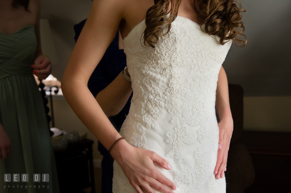 Details of Bride's wedding gown from Bridals by Elena. Historic Inns of Annapolis Maryland, Governor Calvert House wedding, by wedding photographers of Leo Dj Photography. http://leodjphoto.com