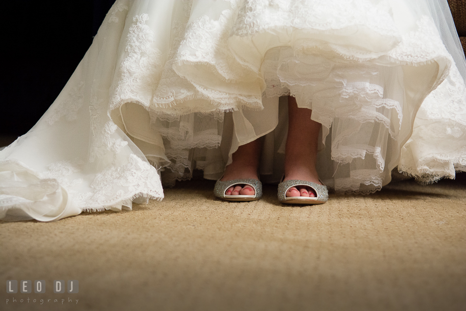 Close up shot of Bride wearing her wedding shoes. Historic Inns of Annapolis Maryland, Governor Calvert House wedding, by wedding photographers of Leo Dj Photography. http://leodjphoto.com