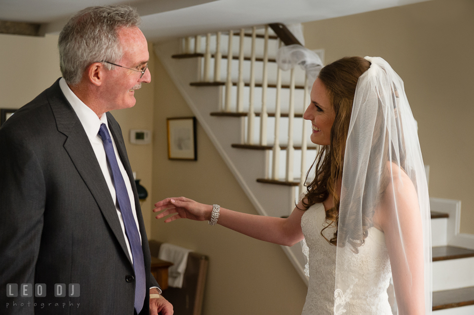 Father of the Bride seeing daughter for the first time in her wedding gown. Historic Inns of Annapolis Maryland, Governor Calvert House wedding, by wedding photographers of Leo Dj Photography. http://leodjphoto.com